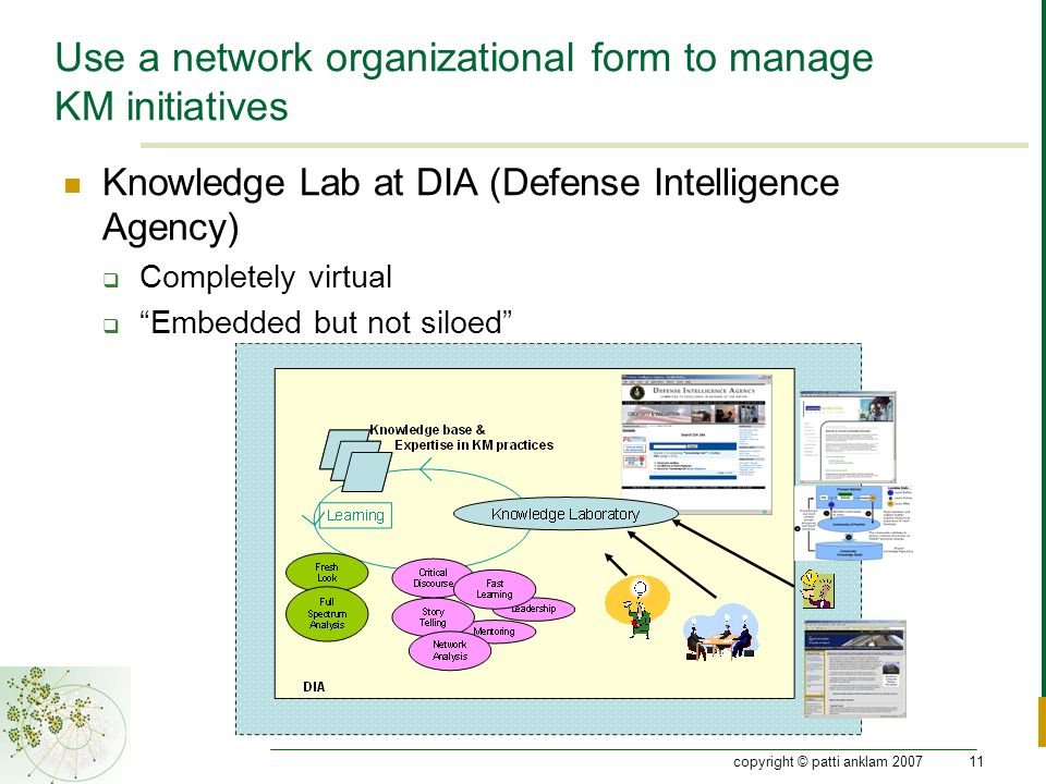 copyright © patti anklam 200711 Use a network organizational form to manage KM initiatives Knowledge Lab at DIA (Defense Intelligence Agency)  Completely virtual  Embedded but not siloed