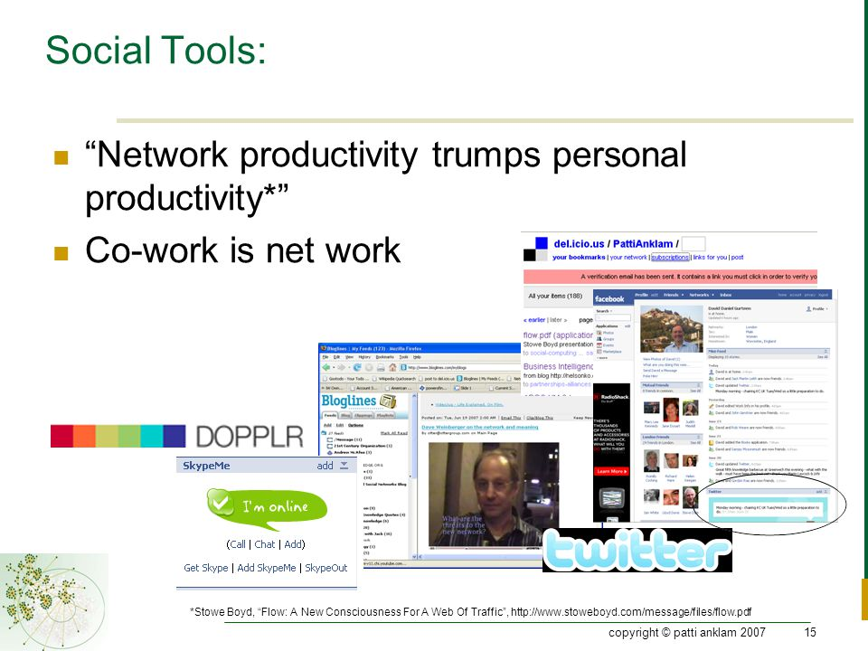 copyright © patti anklam 200715 Social Tools: Network productivity trumps personal productivity* Co-work is net work *Stowe Boyd, Flow: A New Consciousness For A Web Of Traffic , http://www.stoweboyd.com/message/files/flow.pdf