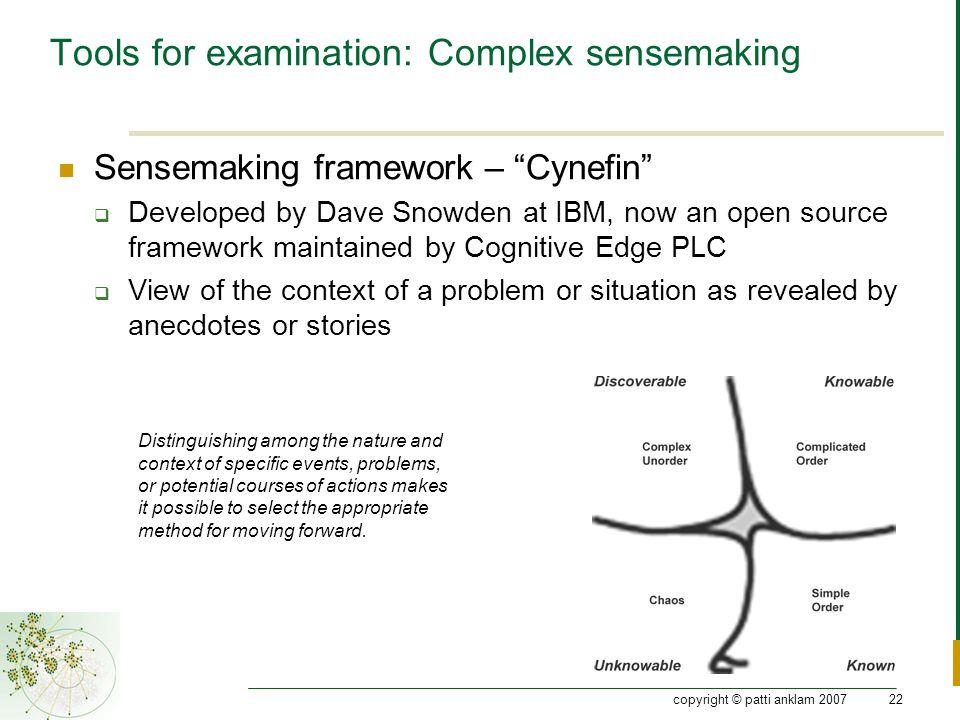 "copyright © patti anklam 200722 Tools for examination: Complex sensemaking Sensemaking framework – ""Cynefin""  Developed by Dave Snowden at IBM, now a"
