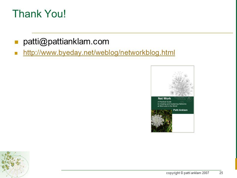 copyright © patti anklam 200725 Thank You! patti@pattianklam.com http://www.byeday.net/weblog/networkblog.html