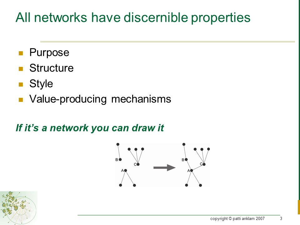copyright © patti anklam 20073 All networks have discernible properties Purpose Structure Style Value-producing mechanisms If it's a network you can draw it