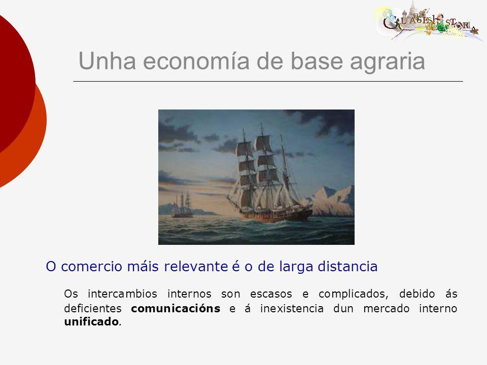 Unha economía de base agraria O comercio máis relevante é o de larga distancia Os intercambios internos son escasos e complicados, debido ás deficientes comunicacións e á inexistencia dun mercado interno unificado.