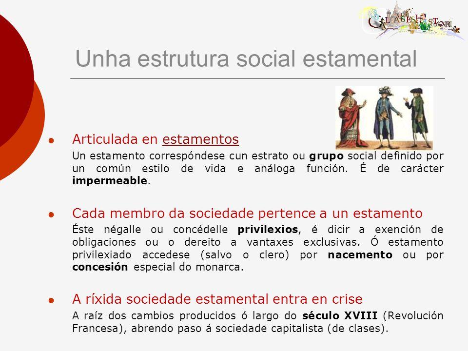 Articulada en estamentosestamentos Un estamento correspóndese cun estrato ou grupo social definido por un común estilo de vida e análoga función.
