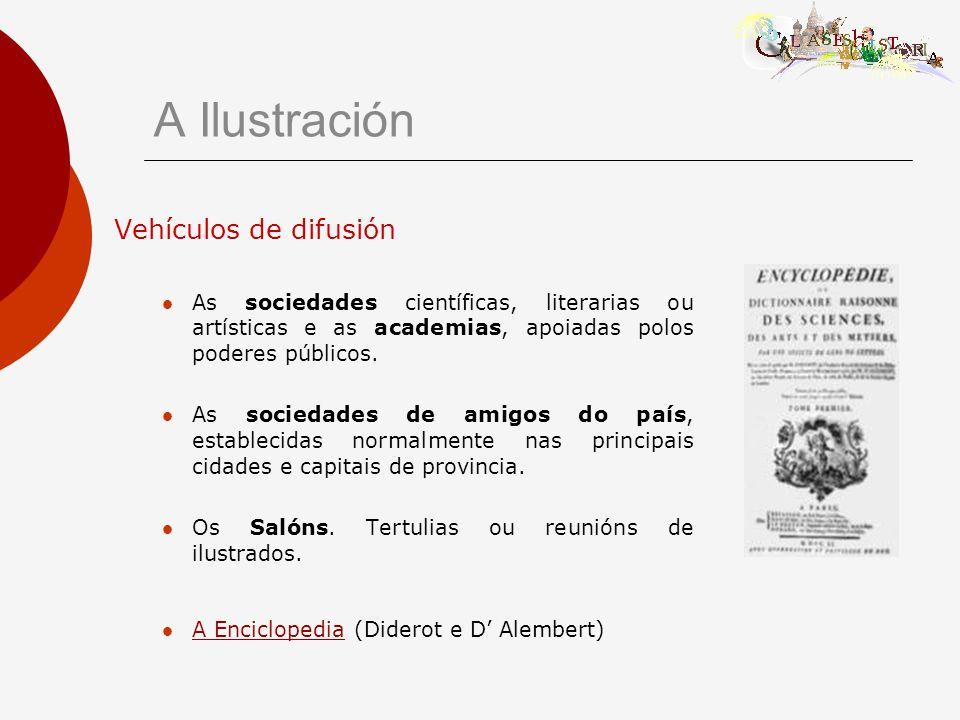 A Ilustración Vehículos de difusión As sociedades científicas, literarias ou artísticas e as academias, apoiadas polos poderes públicos.
