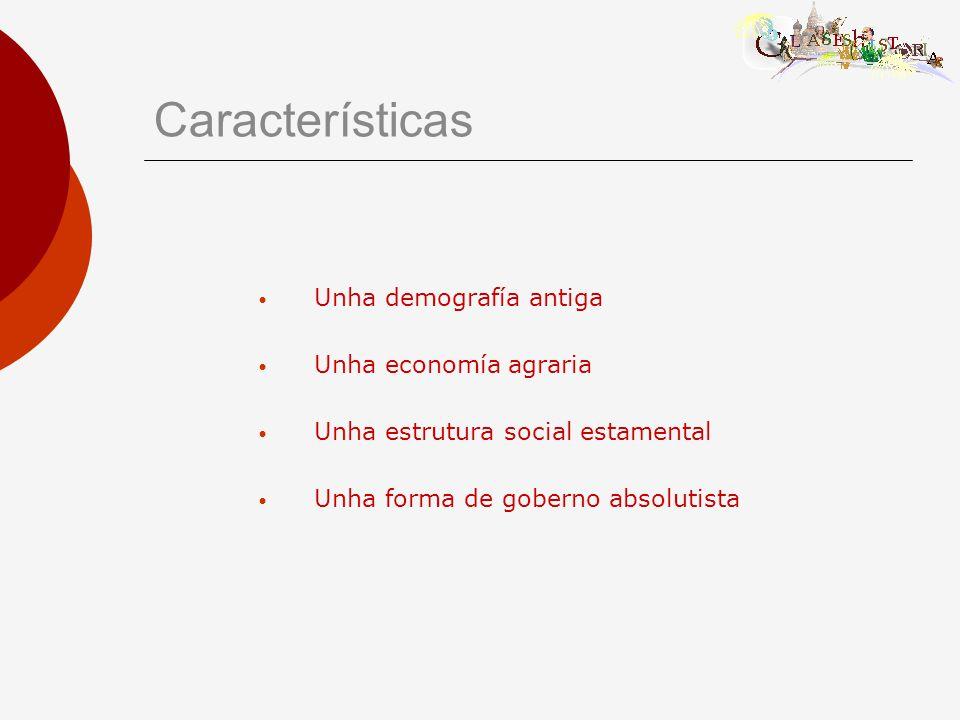 Características Unha demografía antiga Unha economía agraria Unha estrutura social estamental Unha forma de goberno absolutista