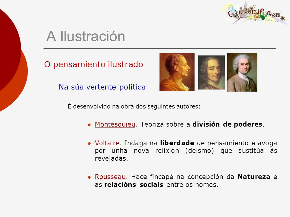 O pensamiento ilustrado Na súa vertente política É desenvolvido na obra dos seguintes autores: Montesquieu.