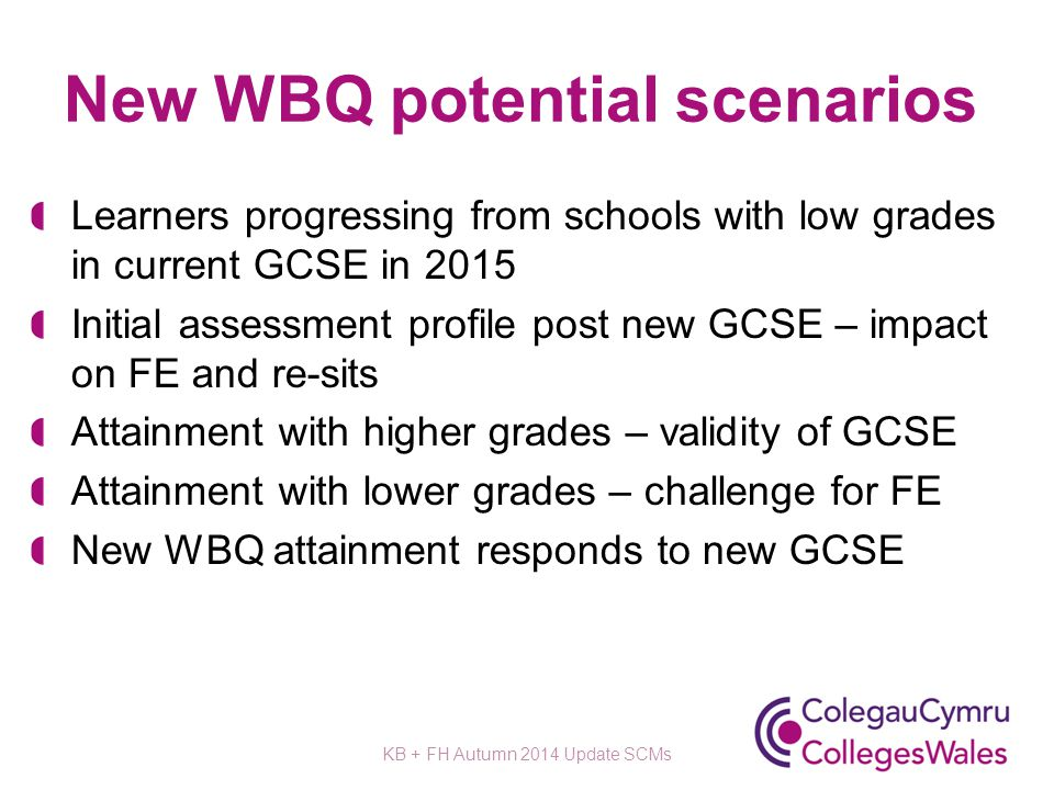 New WBQ potential scenarios Learners progressing from schools with low grades in current GCSE in 2015 Initial assessment profile post new GCSE – impac