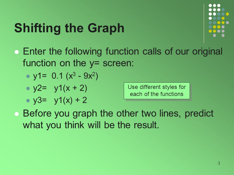 3 Shifting the Graph Enter the following function calls of our original function on the y= screen: y1= 0.1 (x 3 - 9x 2 ) y2= y1(x + 2) y3= y1(x) + 2 Before you graph the other two lines, predict what you think will be the result.
