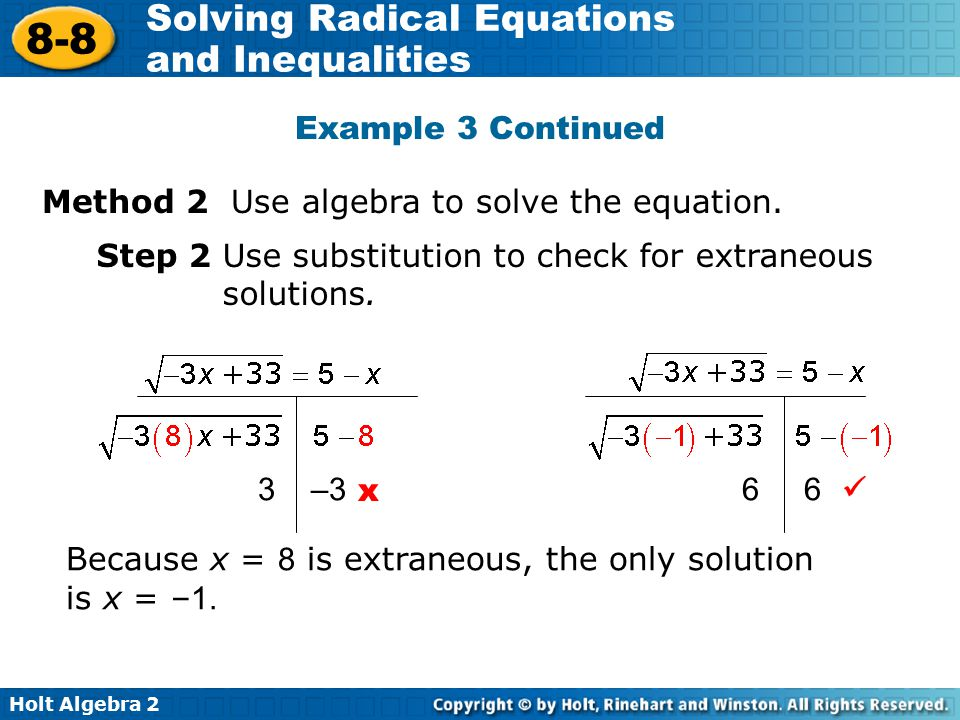 Holt Algebra 2 8-8 Solving Radical Equations and Inequalities Example 3 Continued Method 2 Use algebra to solve the equation. Step 2 Use substitution