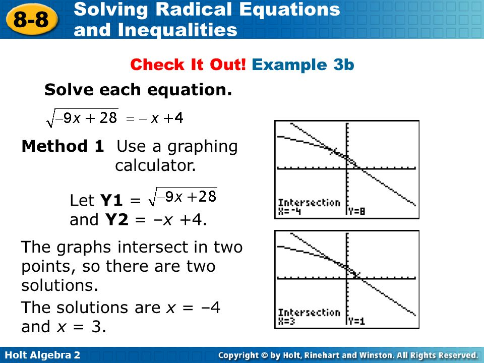 Holt Algebra 2 8-8 Solving Radical Equations and Inequalities Method 1 Use a graphing calculator. Check It Out! Example 3b Let Y1 = and Y2 = –x +4. Th