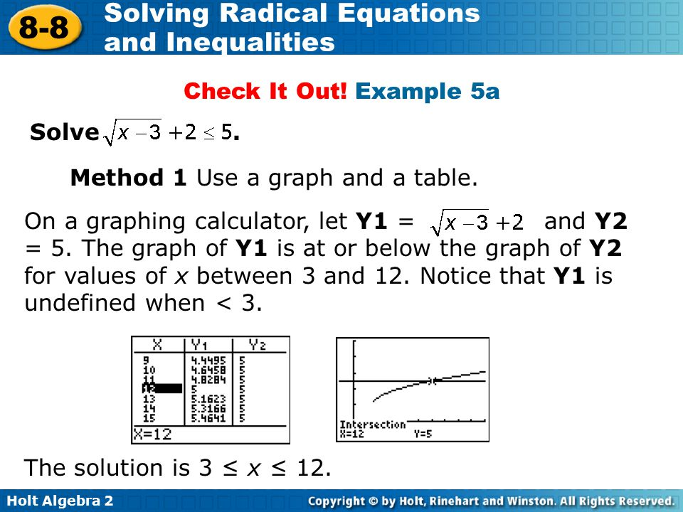 Holt Algebra 2 8-8 Solving Radical Equations and Inequalities Method 1 Use a graph and a table. Check It Out! Example 5a On a graphing calculator, let