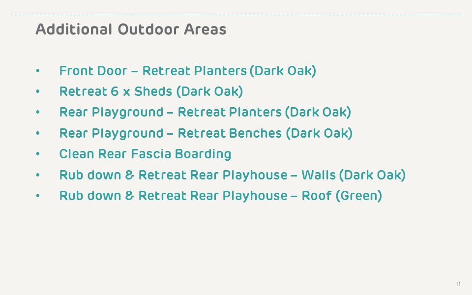 Additional Outdoor Areas Front Door – Retreat Planters (Dark Oak) Retreat 6 x Sheds (Dark Oak) Rear Playground – Retreat Planters (Dark Oak) Rear Playground – Retreat Benches (Dark Oak) Clean Rear Fascia Boarding Rub down & Retreat Rear Playhouse – Walls (Dark Oak) Rub down & Retreat Rear Playhouse – Roof (Green) 11