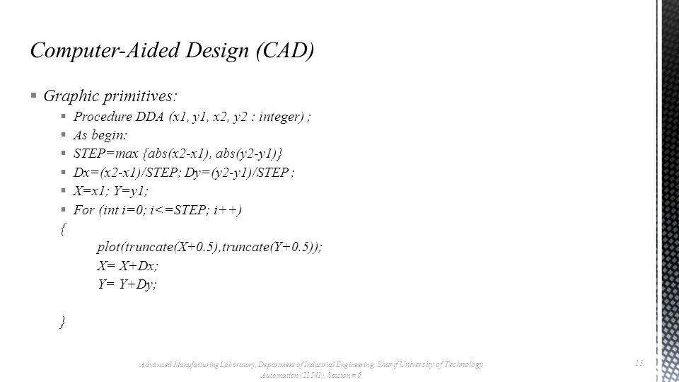  Graphic primitives:  Procedure DDA (x1, y1, x2, y2 : integer) ;  As begin:  STEP=max {abs(x2-x1), abs(y2-y1)}  Dx=(x2-x1)/STEP; Dy=(y2-y1)/STEP