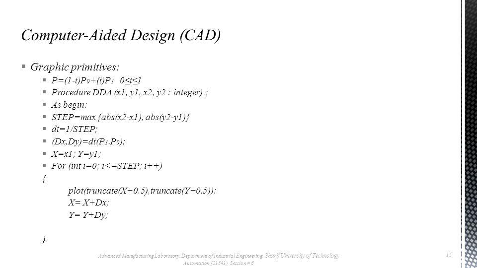  Graphic primitives:  P=(1-t)P 0 +(t)P 1 0≤t≤1  Procedure DDA (x1, y1, x2, y2 : integer) ;  As begin:  STEP=max {abs(x2-x1), abs(y2-y1)}  dt=1/S