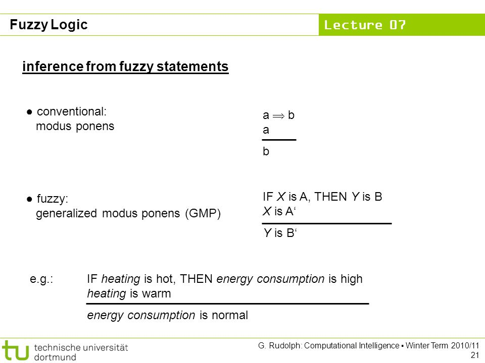 Lecture 07 G. Rudolph: Computational Intelligence ▪ Winter Term 2010/11 21 ● conventional: modus ponens ● fuzzy: generalized modus ponens (GMP) a  b