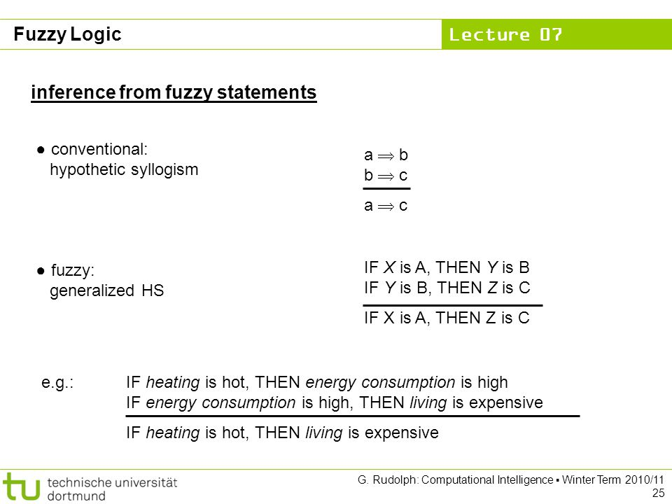 Lecture 07 G. Rudolph: Computational Intelligence ▪ Winter Term 2010/11 25 inference from fuzzy statements ● conventional: hypothetic syllogism ● fuzz