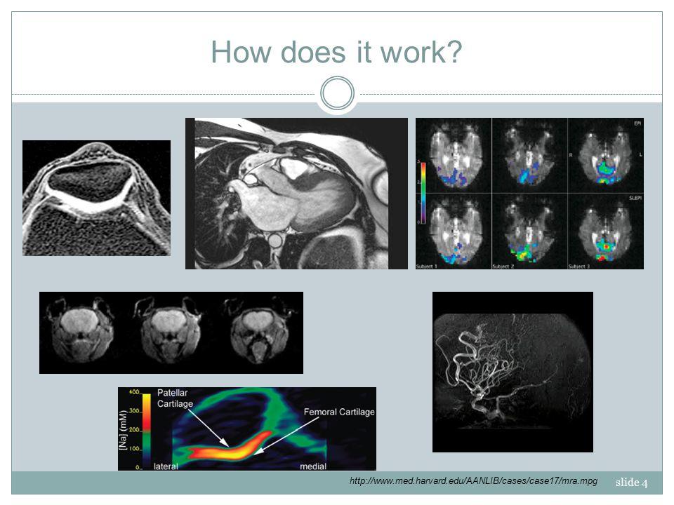 slide 4 How does it work? http://www.med.harvard.edu/AANLIB/cases/case17/mra.mpg