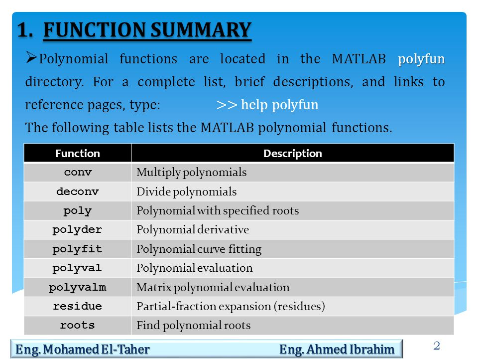 3 2.REPRESENTING POLYNOMIALS  MATLAB software represents polynomials as row vectors containing coefficients ordered by descending powers.