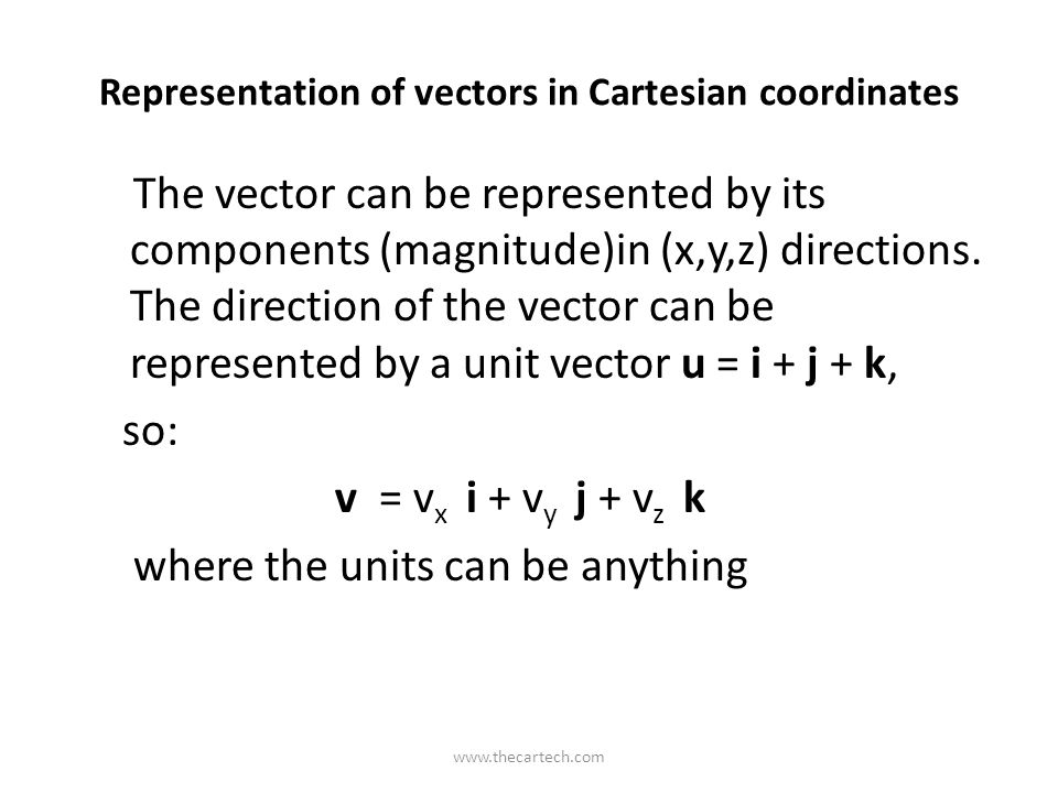 Representation of vectors in Cartesian coordinates The vector can be represented by its components (magnitude)in (x,y,z) directions. The direction of