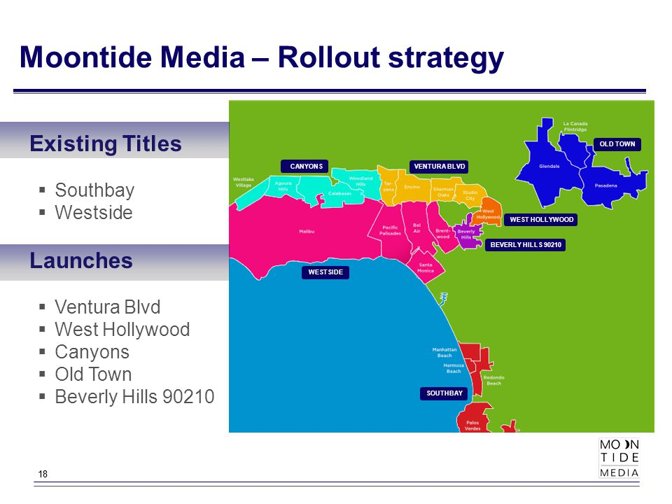 18 Moontide Media – Rollout strategy Existing Titles  Southbay  Westside Launches  Ventura Blvd  West Hollywood  Canyons  Old Town  Beverly Hills 90210 CANYONSVENTURA BLVD OLD TOWN WEST HOLLYWOOD BEVERLY HILLS 90210 SOUTHBAY WESTSIDE
