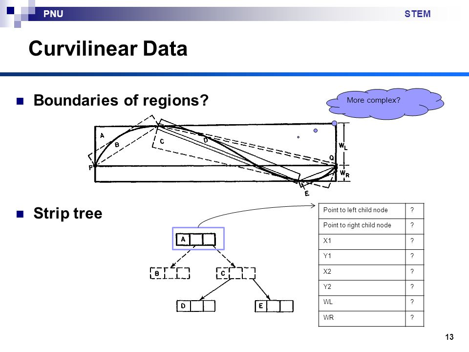 STEMPNU Curvilinear Data Boundaries of regions? Strip tree 13 Point to left child node? Point to right child node? X1? Y1? X2? Y2? WL? WR? More comple