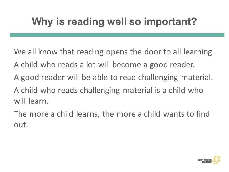 Why is reading well so important. We all know that reading opens the door to all learning.