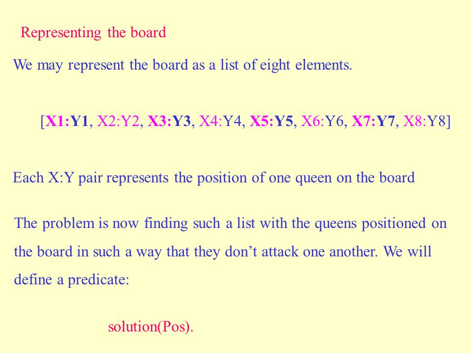 The problem is now finding such a list with the queens positioned on the board in such a way that they don't attack one another. We will define a pred