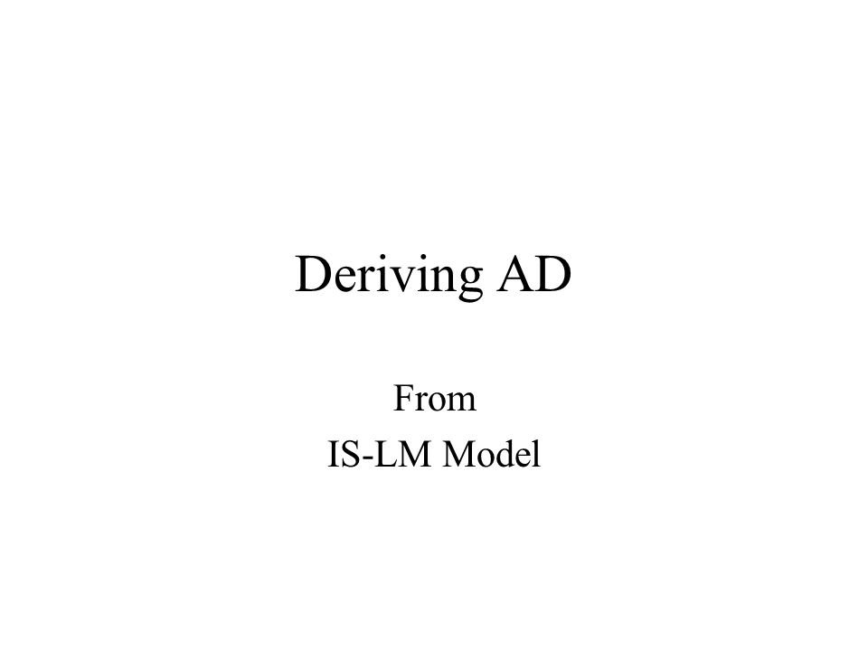 Deriving AD From IS-LM Model