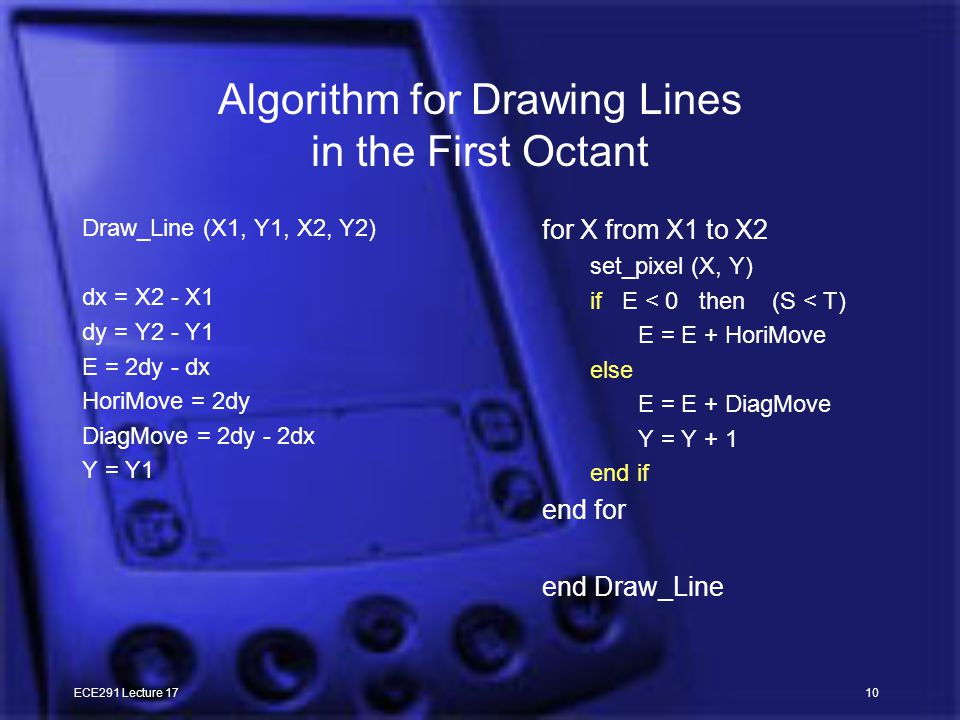 ECE291 Lecture 1710 Algorithm for Drawing Lines in the First Octant Draw_Line (X1, Y1, X2, Y2) dx = X2 - X1 dy = Y2 - Y1 E = 2dy - dx HoriMove = 2dy DiagMove = 2dy - 2dx Y = Y1 for X from X1 to X2 set_pixel (X, Y) if E < 0 then (S < T) E = E + HoriMove else E = E + DiagMove Y = Y + 1 end if end for end Draw_Line