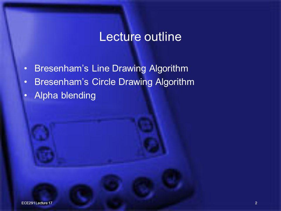 ECE291 Lecture 172 Lecture outline Bresenham's Line Drawing Algorithm Bresenham's Circle Drawing Algorithm Alpha blending