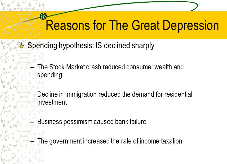 Reasons for The Great Depression Spending hypothesis: IS declined sharply –The Stock Market crash reduced consumer wealth and spending –Decline in imm