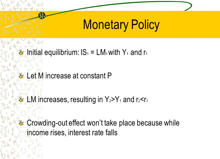 Monetary Policy Initial equilibrium: IS 1 = LM 1 with Y 1 and r 1 Let M increase at constant P LM increases, resulting in Y 2 >Y 1 and r 2 <r 1 Crowdi