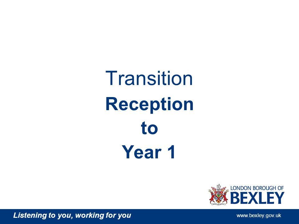 Listening to you, working for you www.bexley.gov.uk Transition Reception to Year 1