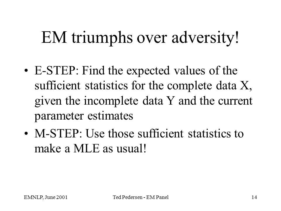 EMNLP, June 2001Ted Pedersen - EM Panel14 EM triumphs over adversity.