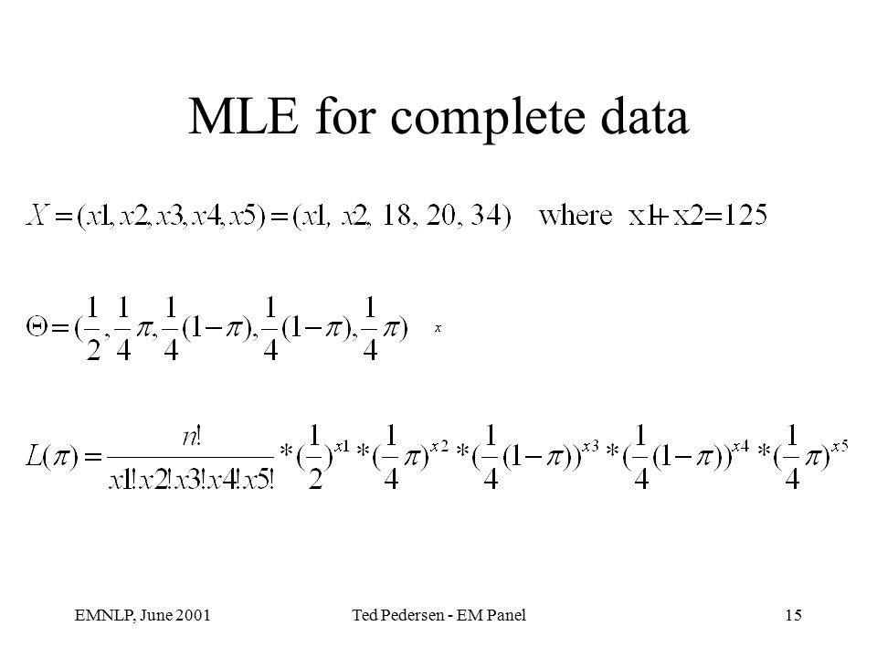 EMNLP, June 2001Ted Pedersen - EM Panel15 MLE for complete data
