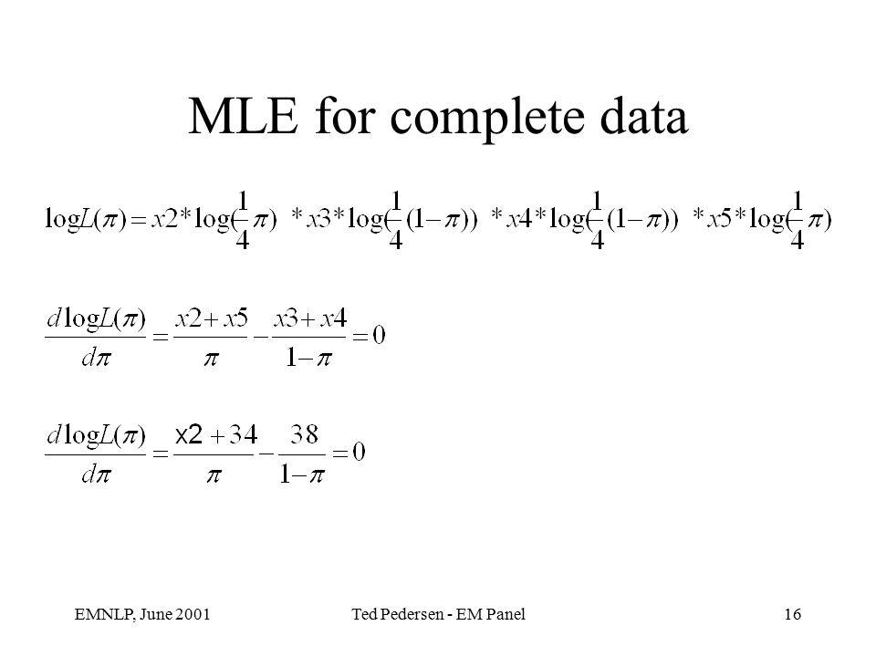 EMNLP, June 2001Ted Pedersen - EM Panel16 MLE for complete data