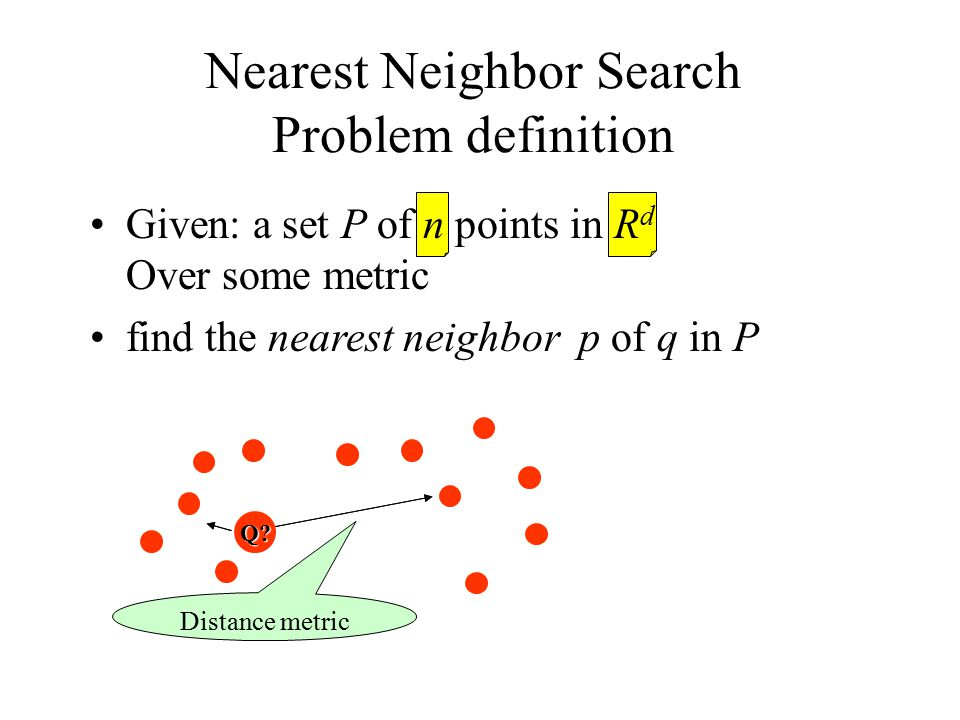 Given: a set P of n points in R d Over some metric find the nearest neighbor p of q in P Nearest Neighbor Search Problem definition Distance metric Q?