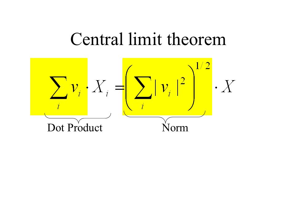 Central limit theorem Dot ProductNorm