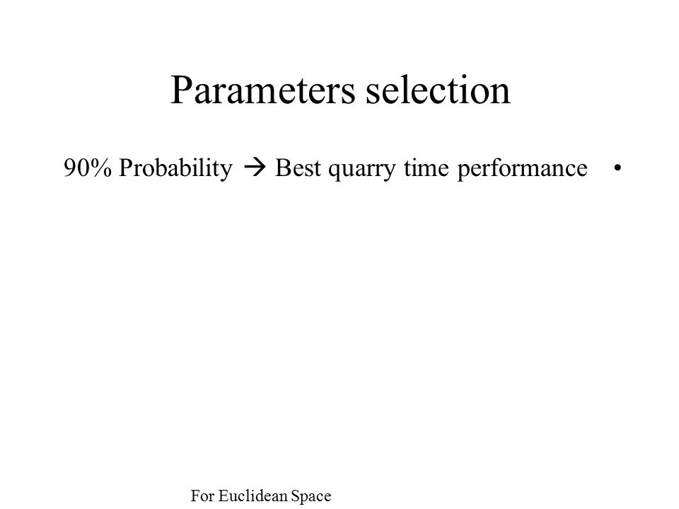 Parameters selection 90% Probability  Best quarry time performance For Euclidean Space