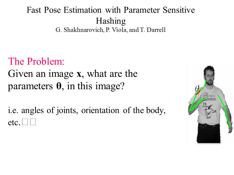 Given an image x, what are the parameters θ, in this image? i.e. angles of joints, orientation of the body, etc. The Problem: Fast Pose Estimation wit