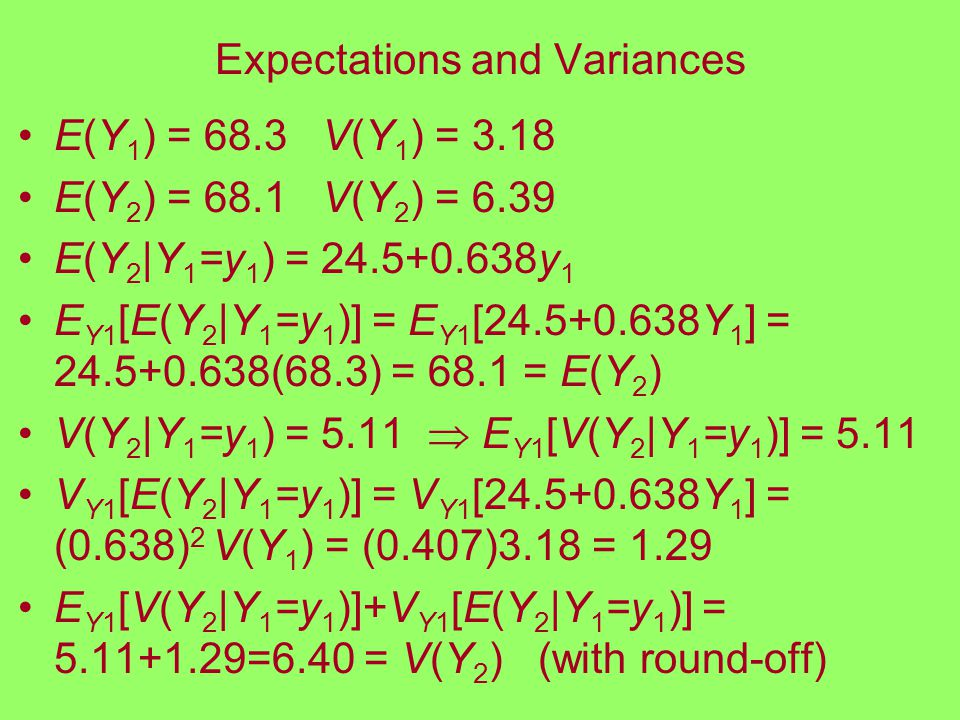 Expectations and Variances E(Y 1 ) = 68.3 V(Y 1 ) = 3.18 E(Y 2 ) = 68.1 V(Y 2 ) = 6.39 E(Y 2 |Y 1 =y 1 ) = 24.5+0.638y 1 E Y1 [E(Y 2 |Y 1 =y 1 )] = E Y1 [24.5+0.638Y 1 ] = 24.5+0.638(68.3) = 68.1 = E(Y 2 ) V(Y 2 |Y 1 =y 1 ) = 5.11  E Y1 [V(Y 2 |Y 1 =y 1 )] = 5.11 V Y1 [E(Y 2 |Y 1 =y 1 )] = V Y1 [24.5+0.638Y 1 ] = (0.638) 2 V(Y 1 ) = (0.407)3.18 = 1.29 E Y1 [V(Y 2 |Y 1 =y 1 )]+V Y1 [E(Y 2 |Y 1 =y 1 )] = 5.11+1.29=6.40 = V(Y 2 ) (with round-off)