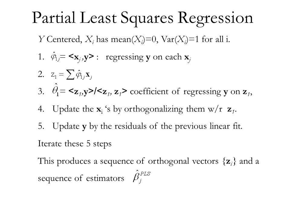 Simple R program # Generate some data y = rnorm(100) y = y -mean(y) x1 = rnorm(100) x1 = (x1 - mean(x1))/sd(x1) x2 = y+x1+rnorm(100) x2 = (x2 - mean(x2))/sd(x2) # pi1 = sum(y*x1) pi2 = sum(y*x2) z1 = pi1*x1 + pi2*x2 z1 = (z1 - mean(z1))/sd(z1) th1 = lsfit(z1,y,int=F)$coef y1 = y - th1*z1 pairs(cbind(y,x1,x2,z1,y1))