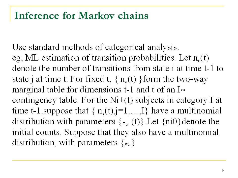 9 Inference for Markov chains