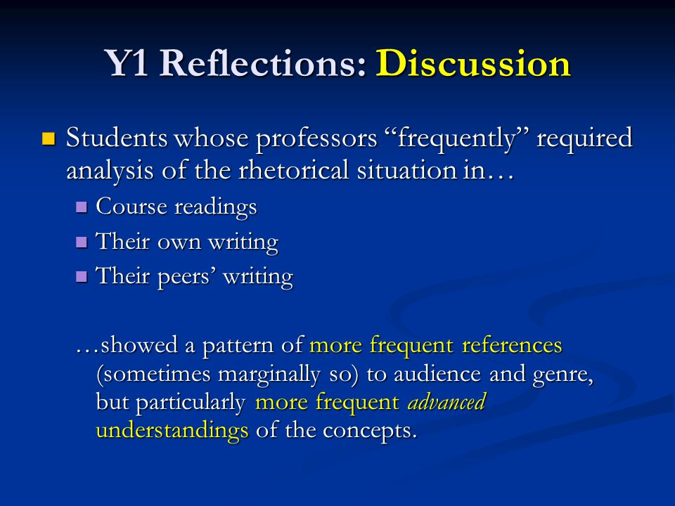 Y1 Reflections: Discussion Students whose professors frequently required analysis of the rhetorical situation in… Students whose professors frequently required analysis of the rhetorical situation in… Course readings Course readings Their own writing Their own writing Their peers' writing Their peers' writing …showed a pattern of more frequent references (sometimes marginally so) to audience and genre, but particularly more frequent advanced understandings of the concepts.