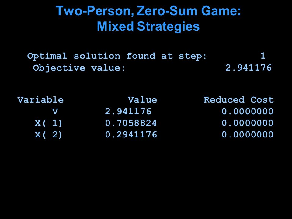 Two-Person, Zero-Sum Game: Mixed Strategies Optimal solution found at step: 1 Objective value: 2.941176 Variable Value Reduced Cost V 2.941176 0.0000000 X( 1) 0.7058824 0.0000000 X( 2) 0.2941176 0.0000000