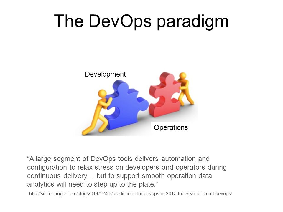 The DevOps paradigm Development Operations A large segment of DevOps tools delivers automation and configuration to relax stress on developers and operators during continuous delivery… but to support smooth operation data analytics will need to step up to the plate. http://siliconangle.com/blog/2014/12/23/predictions-for-devops-in-2015-the-year-of-smart-devops/