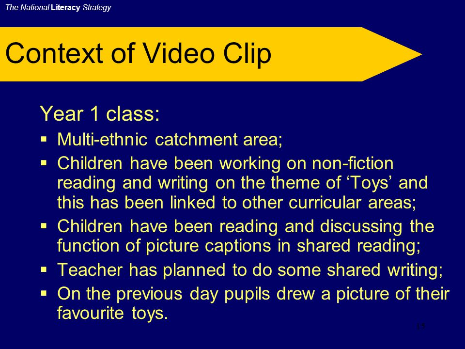 14 Shared Writing in Y1 Video will demonstrate:  the organisation of shared writing;  the type of talk which is at the heart of effective teaching during a shared writing session;  how the careful composition of one or two sentences is more effective than a lengthy piece;  teaching information writing;  how a classroom assistant can support a small group of children;  strategies for involving the whole class.