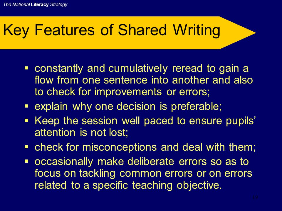 18 Key Features of Shared Writing During Shared Writing it is important to:  agree how the audience and purpose of the writing task determines the structure, grammatical features and content;  use specific objectives which are limited;  rehearse sentences before writing them down, thus giving insight into how to compose in sentences;  encourage the automatic habit of basic elements, e.g.