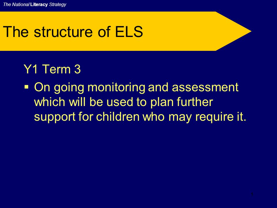 4 The structure of ELS Y1 Term 1:  Quality whole class teaching supported by teaching assistant.