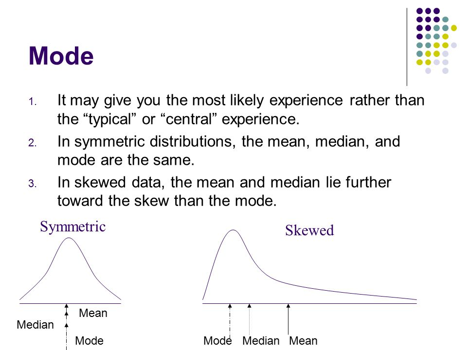 """Mode 1. It may give you the most likely experience rather than the """"typical"""" or """"central"""" experience. 2. In symmetric distributions, the mean, median,"""